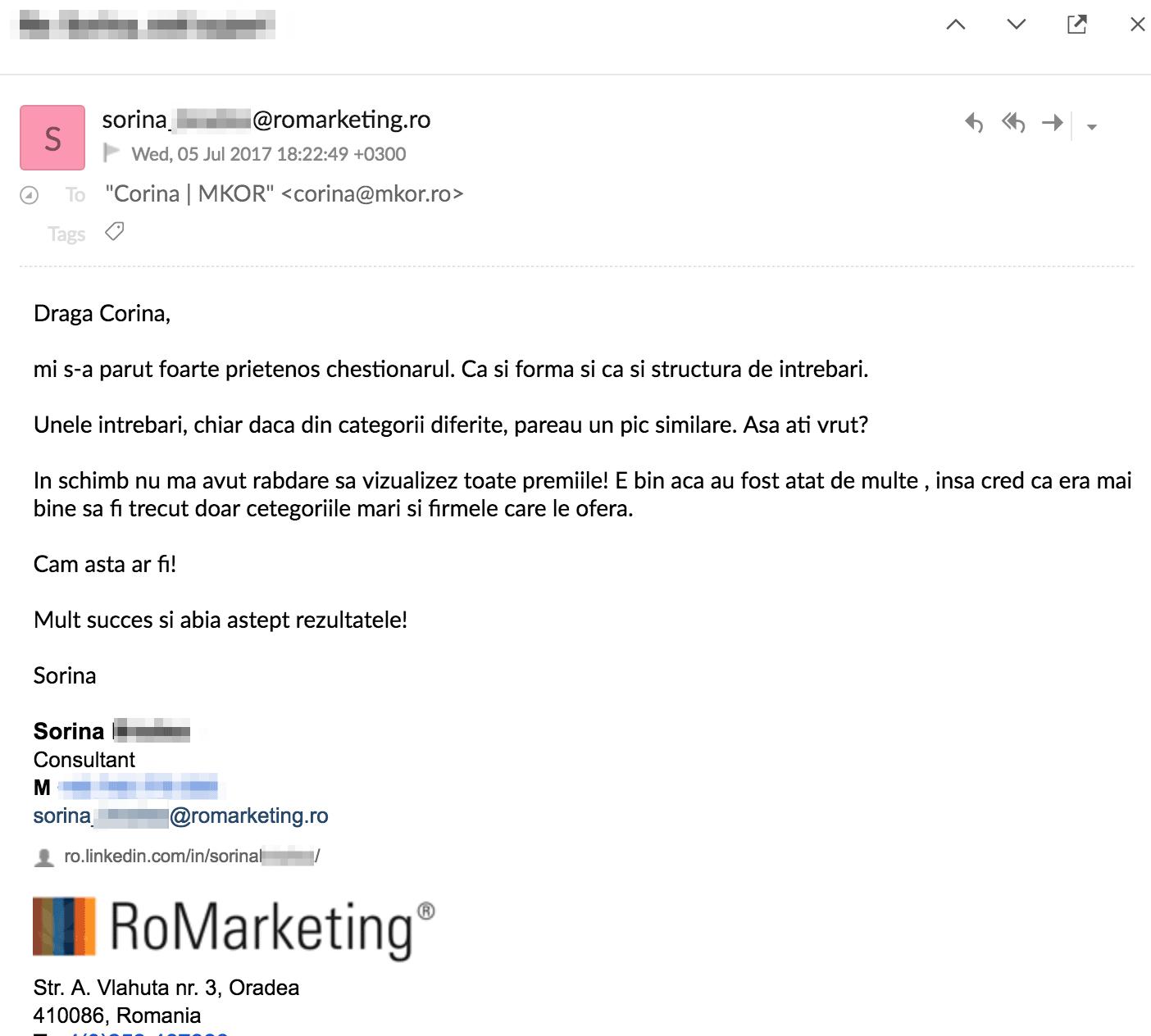 sorina-romarketing-testimonial-email