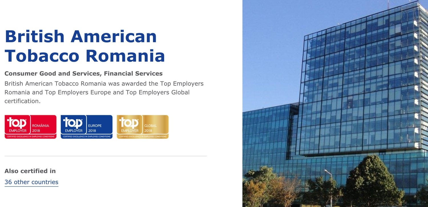 British American Tobacco Top Employer