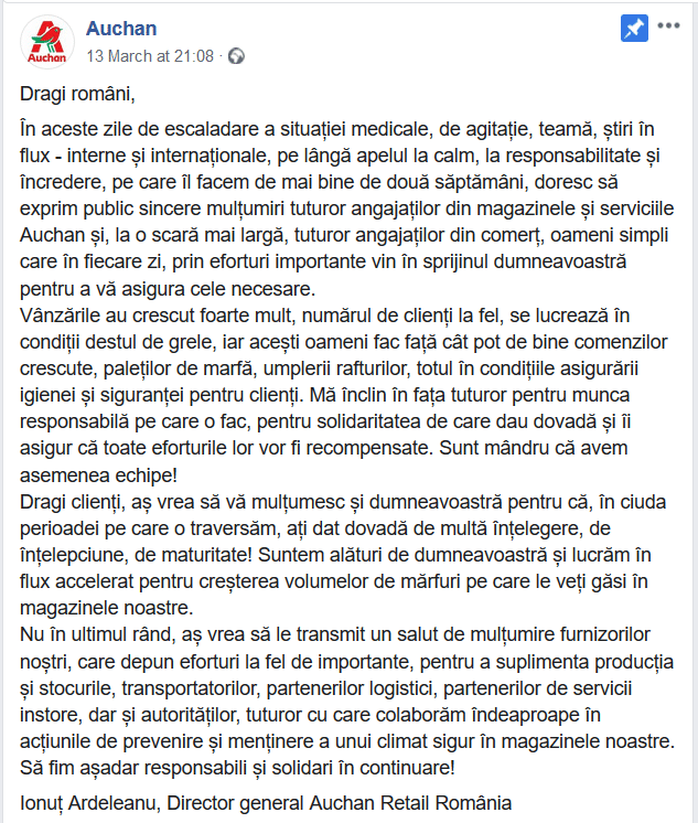 ionut-ardeleanu-director-general-auchan-retail-romania-mesaj-facebook